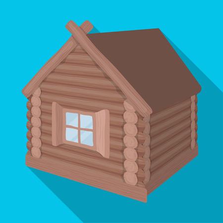 Cabane en bois. Hutte seule structure architecturale en illustration stock symbole de plat style vecteur.