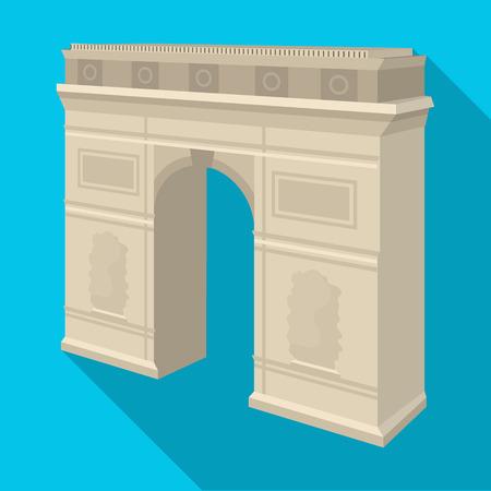 パリの凱旋門。アーチ建物単一フラット スタイル ベクトル シンボル ストック イラストのアイコン。  イラスト・ベクター素材