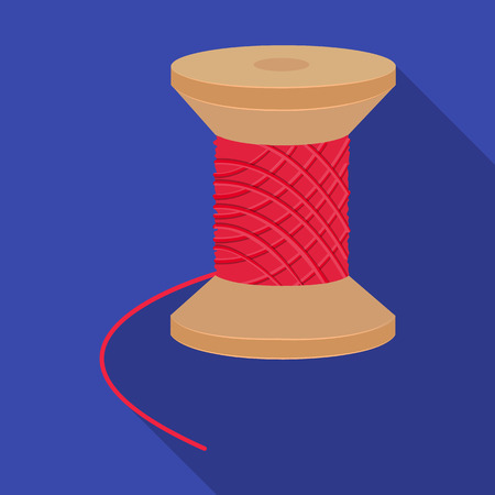 sewing machines: The wooden coil of thread for sewing. Sewing and equipment single icon in flat style vector symbol stock illustration . Illustration