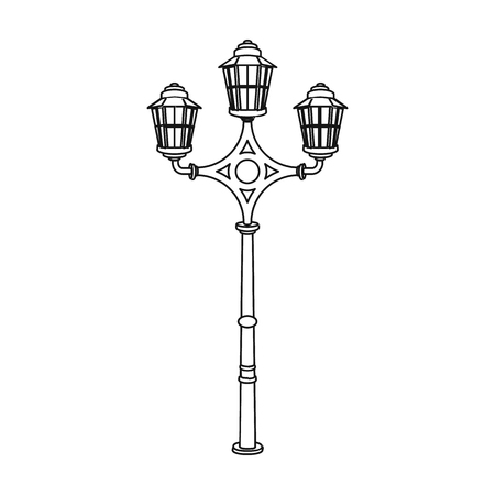 plafond: Street lights in retro style. Lamppost single icon in outline style vector symbol stock illustration .