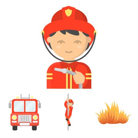 Fireman, flame, fire truck. Fire department set collection icons in cartoon style vector symbol stock illustration . Illustration