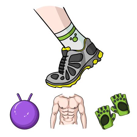 Heren torso, gymnastiekhandschoenen, springbal, sneakers. Fitnes vastgestelde inzamelingspictogrammen in illustratie van de het symboolvoorraad van de beeldverhaalstijl de vector.