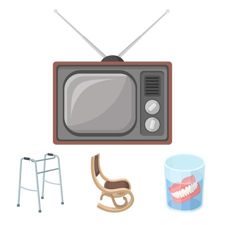 Dentadura, mecedora, andador, viejo TV. Edad antigua establece iconos de colección en estilo de dibujos animados vector símbolo stock de ilustración. Foto de archivo - 85192538