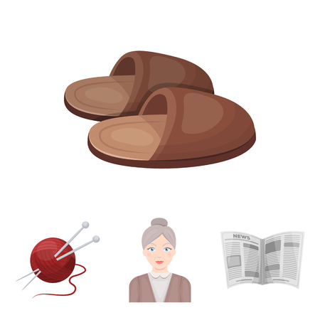 An elderly woman, slippers, a newspaper, knitting.Old age set collection icons in cartoon style vector symbol stock illustration . Illustration
