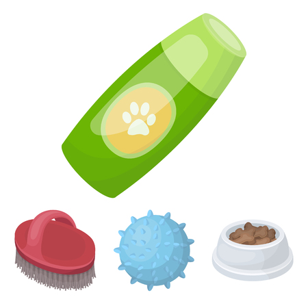 zoo dry: The ball, feed, shampoo and other zoo store products. Pet shop set collection icons in cartoon style vector symbol stock illustration web.