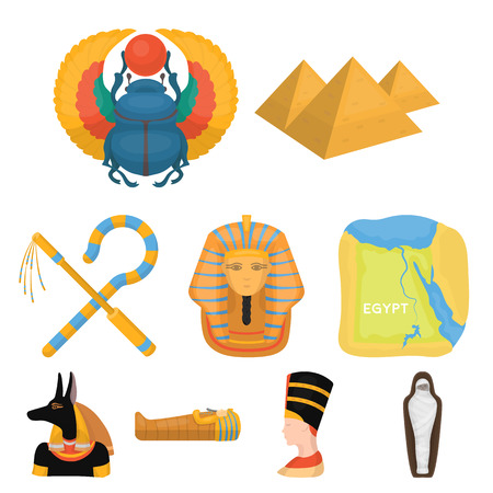 pharaoh: Ancient Egypt set icons in cartoon style. Big collection of ancient Egypt vector symbol stock