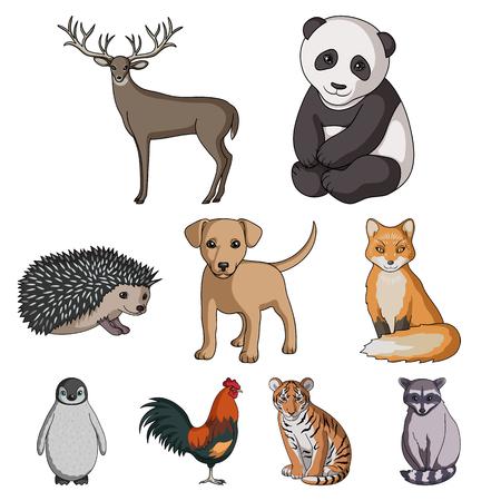 鹿、虎、牛、猫、オンドリ、フクロウおよび他の動物種。動物は、漫画スタイルのベクトル シンボル ストック イラストでコレクションのアイコン