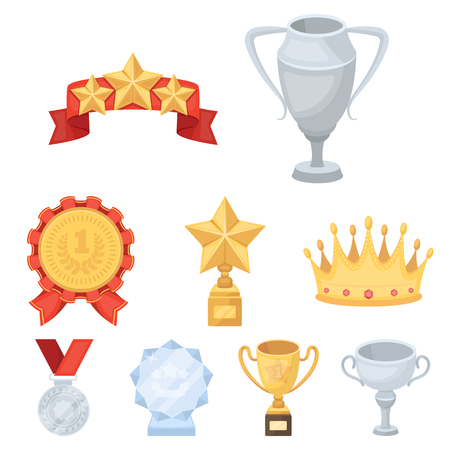 leaf logo: Awards, gold medals and cups as prizes in competitions and competitions. Awards and trophies icon in set collection on cartoon style vector symbol stock web illustration.