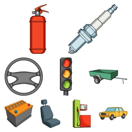 motor car candles: Wheel, wrench, jack and other equipment. Car set collection icons in cartoon style vector symbol stock illustration .