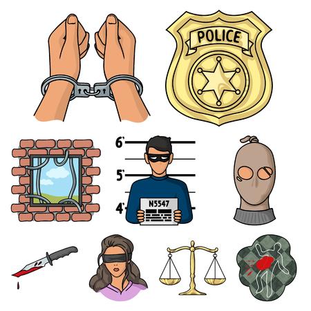 Crime-Icons im Cartoon-Stil. Große Sammlung von Verbrechen Vektor-Symbol stock Standard-Bild - 85191790
