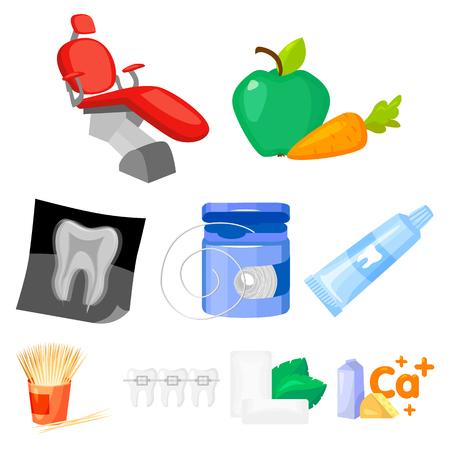 치과 치료 만화 디자인에서 아이콘을 설정합니다. 치과 치료 벡터 기호 재고 일러스트의 큰 컬렉션