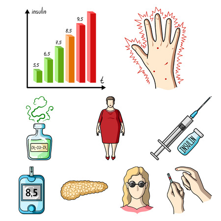 A set of icons about diabetes mellitus. Symptoms and treatment of diabetes. Diabetes icon in set collection on cartoon style vector symbol stock web illustration.