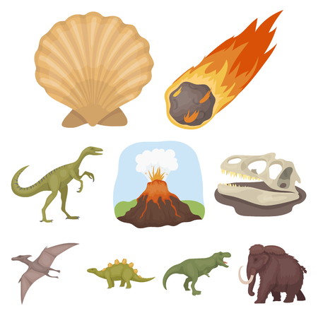 tyrannosaurs: Ancient extinct animals and their tracks and remains. Dinosaurs, tyrannosaurs, pnictosaurs.Dinisaurs and prehistorical icon in set collection on cartoon style vector symbol stock web illustration.