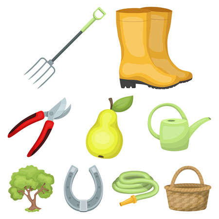 pitchfork: Set of pictures about gardening. Village, vegetable garden, garden, ecology.Farm and Gardening icon in set collection on cartoon style vector symbol stock web illustration.