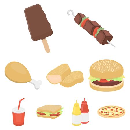 Fast food set icons in cartoon style. Big collection of fast food vector symbol stock
