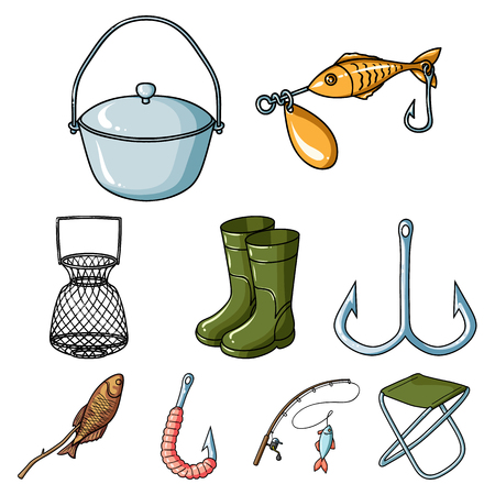 Summer and winter fishing, outdoor recreation, fishing, fish.Fishing icon in set collection on cartoon style vector symbol stock web illustration. Stock Vector - 85191812