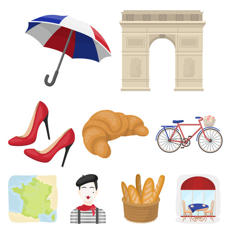 Attractions in France. Things to learn about France. France country icon in set collection on cartoon style vector symbol stock web illustration. Illustration