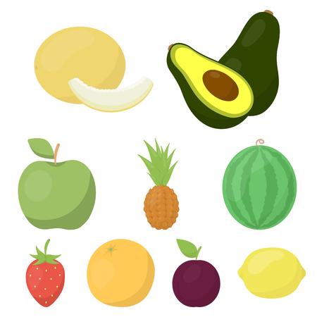 果物は、漫画のスタイルのアイコンを設定します。フルーツ ベクトル シンボル株式の大きなコレクション  イラスト・ベクター素材