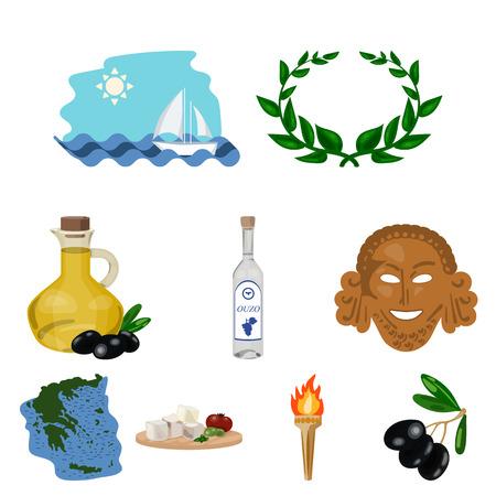 Greece set icons in cartoon design. Big collection of Greece vector symbol stock illustration Illustration