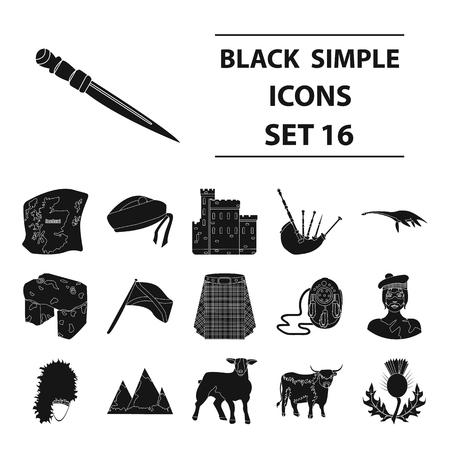 Kilt, bagpipes, thistles are national subjects of Scotland. Scotland set collection icons in black style vector symbol stock illustration . Illusztráció