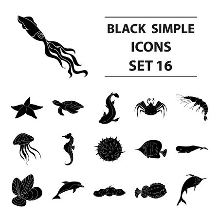Sea animals set icons in black design. Big collection of sea animals vector symbol stock illustration