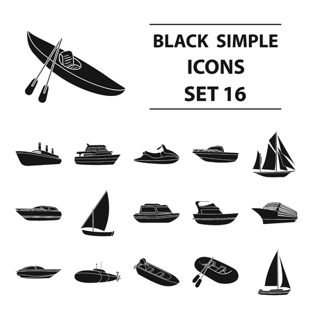 Yacht, boat, liner, types of ship and water transport. Ship and water transport set collection icons in black style vector symbol stock illustration . Ilustração