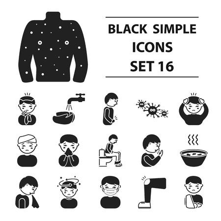 infected: Sick set icons in black style. Big collection sick vector symbol stock Illustration