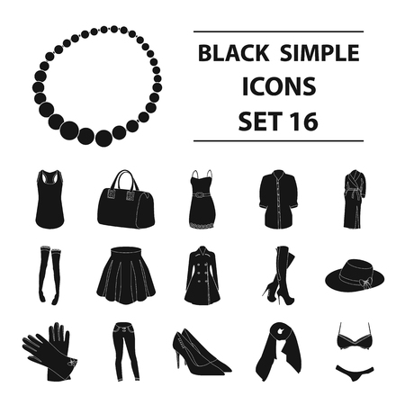 Dress, bra, shoes, womens clothing. Womens clothing set collection icons in black style vector symbol stock illustration .