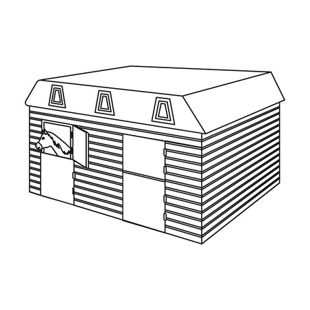 The stable building at the racetrack. Stable room single icon in outline style vector symbol stock illustration .