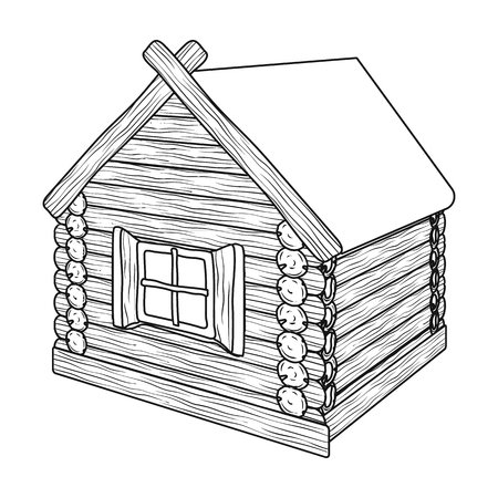 Wooden log cabin. Hut architectural structure single icon in outline style vector symbol stock illustration .