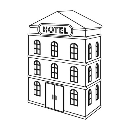 Three-storey hotel. Architectural building of the hotel single icon in outline style vector symbol stock illustration .