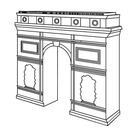 パリの凱旋門。アーチ建物概要スタイル ベクトル シンボル ストック イラストの 1 つのアイコン。  イラスト・ベクター素材