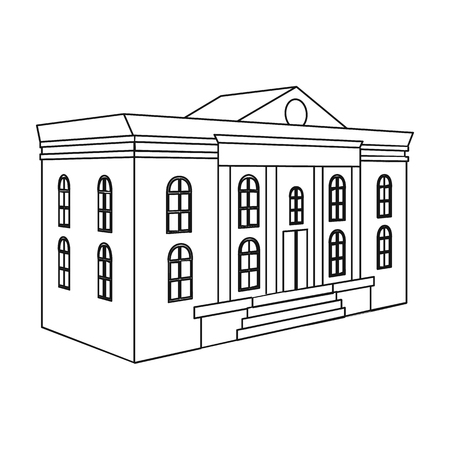 The architectural building of the museum. The Museum single icon in outline style vector symbol stock illustration .