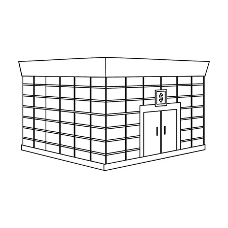 Office premises of the bank. Central bank single icon in outline style vector symbol stock illustration .