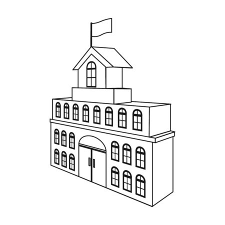house logo: The building of the town hall. City Hall Building single icon in outline style vector symbol stock illustration .