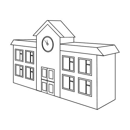 Architectural building of school, college. College single icon in outline style vector symbol stock illustration . Иллюстрация