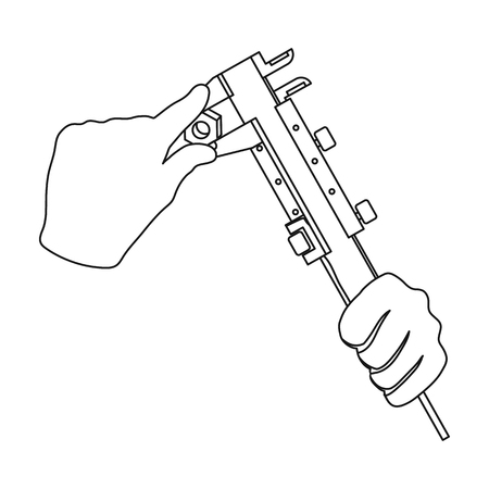 Manipulation with calipers. Measuring instrument, caliper single icon in outline style vector symbol stock illustration . Illustration