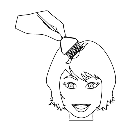 Staining of female hair in a hairdresser. Hair dyeing single icon in outline style vector symbol stock illustration .
