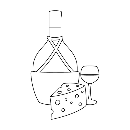 A bottle of alcohol, wine in a glass and cheese. Alcohol single icon in outline style vector symbol stock illustration . Illustration