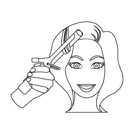 Hair curling in the hairdresser. Curling Hair single icon in outline style vector symbol stock illustration . Illustration