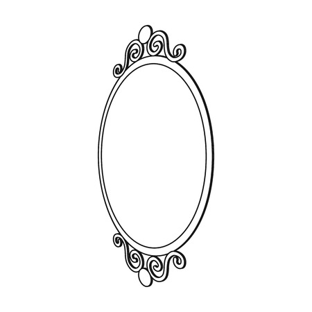 An elegant, oval-shaped mirror. Interior single icon in outline style Isometric vector symbol stock illustration .