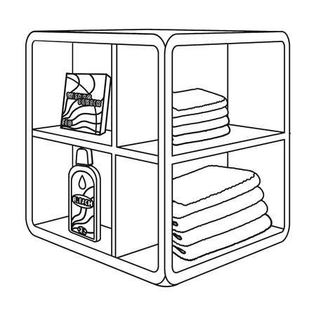 A rack in the bathroom for laundry and detergents. Furniture single icon in outline style Isometric vector symbol stock illustration .