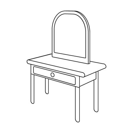 Toilettafel met spiegel. Meubels en interieur één pictogram in kaderstijl Isometrische vector symbool stock illustratie.