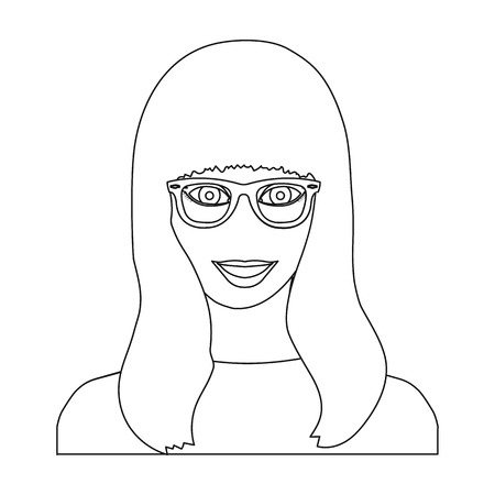 The girls face is wearing glasses. Face and appearance single icon in outline style vector symbol stock illustration .