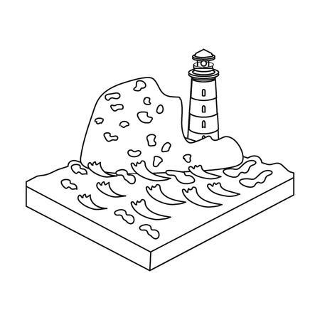 Mountains,lighthouse and Sea. Relief and mountains single icon in outline style isometric vector symbol stock illustration .