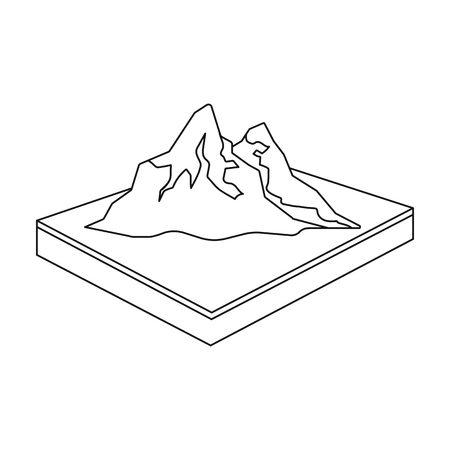 Mountains, rocks and landscape. Relief and mountains single icon in outline style isometric vector symbol stock illustration . Illustration