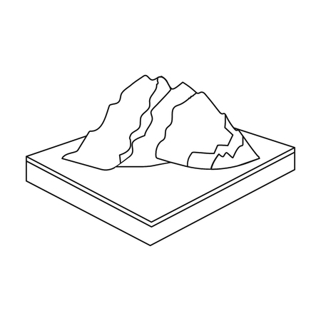 relievo: Mountains, rocks and landscape. Relief and mountains single icon in outline style isometric vector symbol stock illustration . Illustration