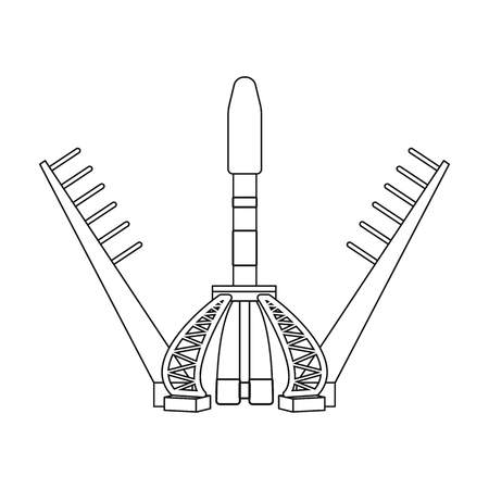 Launch of the spaceship. Space technology single icon in outline style vector symbol stock illustration .
