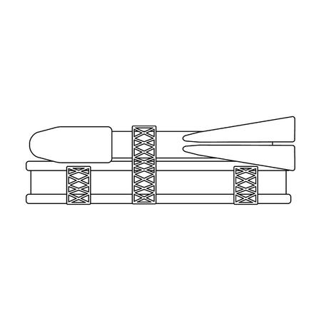 打ち上げのための宇宙技術の準備。アウトライン スタイル ベクトル シンボル ストック イラストのスペース技術の 1 つのアイコン。  イラスト・ベクター素材