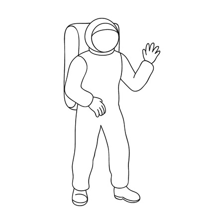 radiation protection suit: Cosmic space suit. Space technology single icon in outline style vector symbol stock illustration .